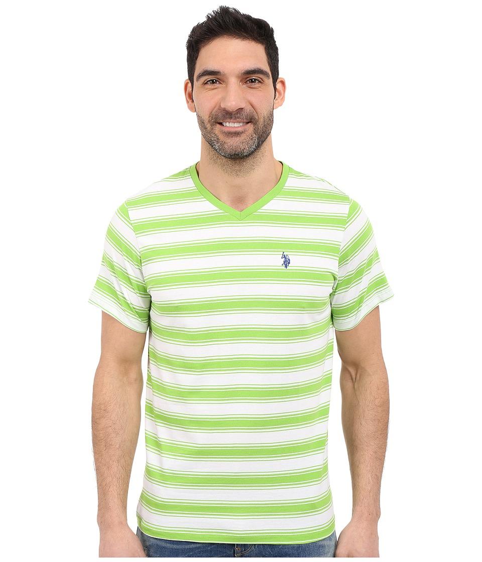 U.S. POLO ASSN. - Short Sleeve Shadow Stripe V-Neck T-Shirt (Summer Lime) Men's Short Sleeve Pullover