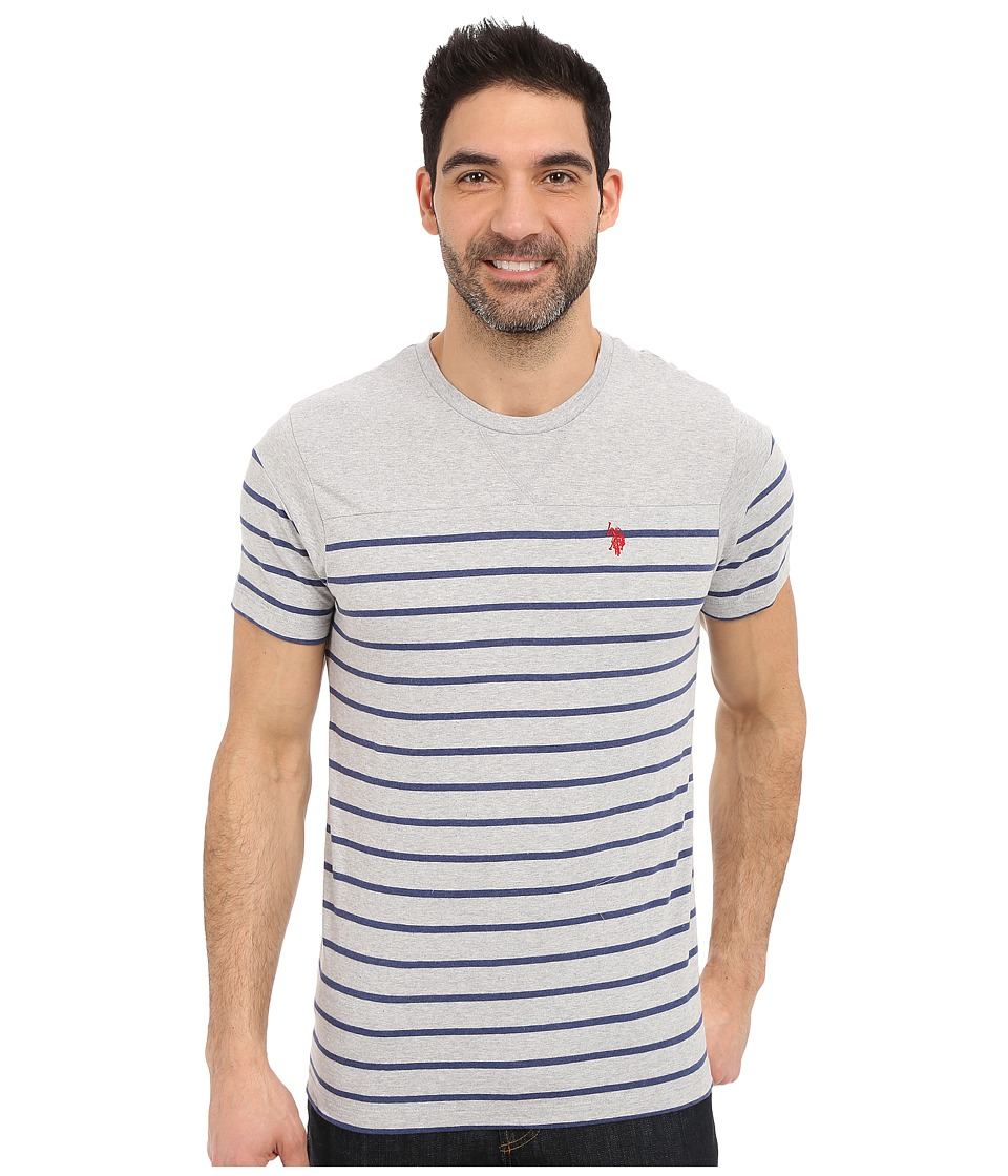 U.S. POLO ASSN. - Solid Stripe V-Neck T-Shirt (Light Heather Gray) Men's Short Sleeve Pullover