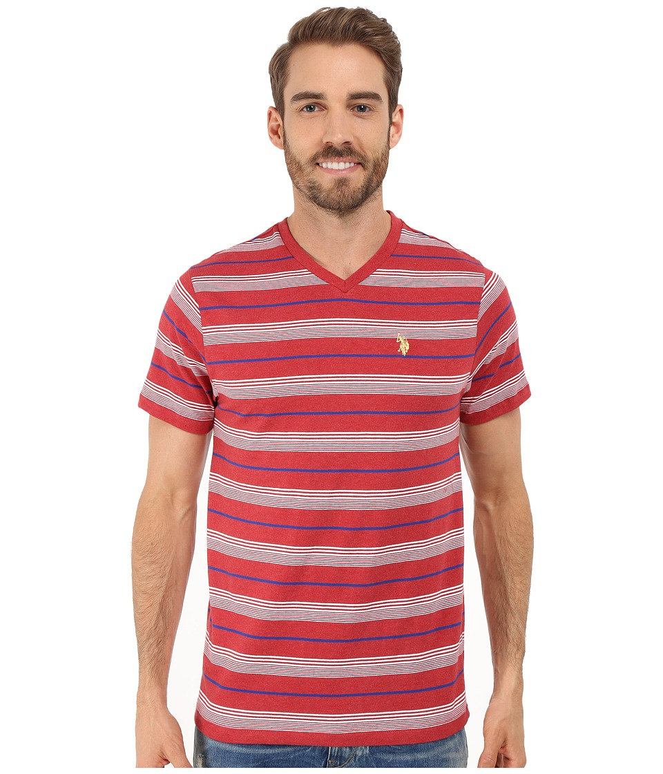 U.S. POLO ASSN. - Multicolor Shadow Striped V-Neck T-Shirt (Red Heather) Men's T Shirt