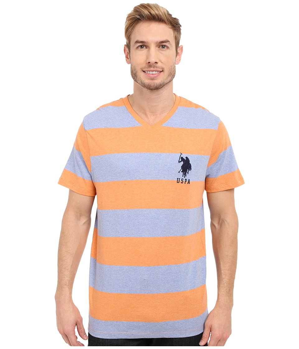 U.S. POLO ASSN. - Rugby Stripe V-Neck T-Shirt (Sunrise Heather) Men's Short Sleeve Pullover