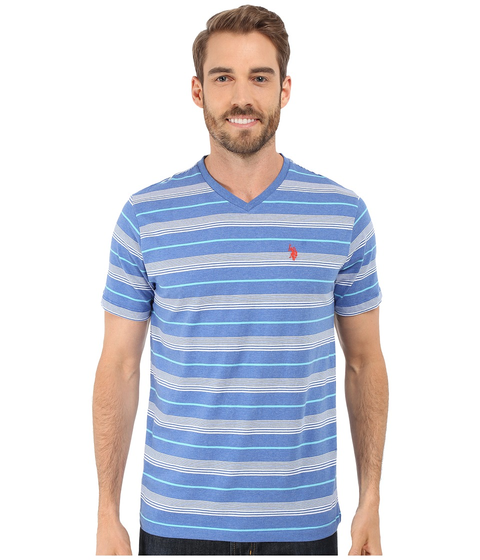U.S. POLO ASSN. - Multicolor Shadow Striped V-Neck T-Shirt (Cobalt Heather) Men's T Shirt