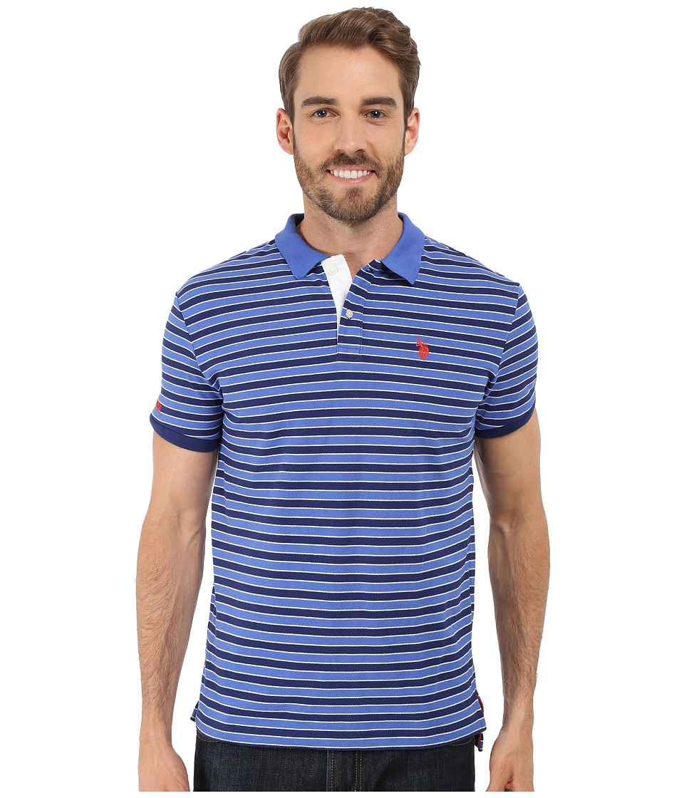 U.S. POLO ASSN. - Slim Fit Micro Shadow Stripe Polo Shirt (Marina Blue) Men's Short Sleeve Pullover
