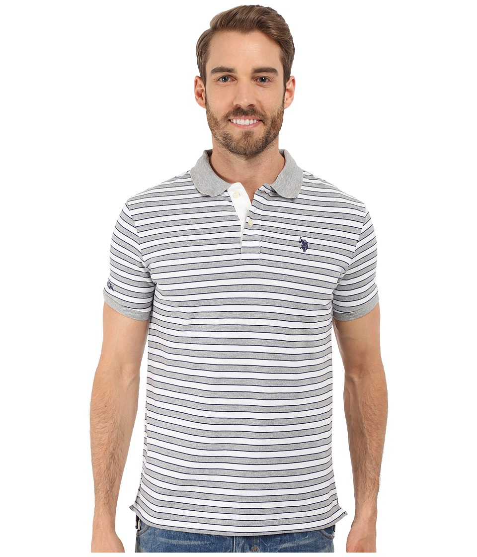 U.S. POLO ASSN. - Slim Fit Micro Shadow Stripe Polo Shirt (Heather Grey) Men's Short Sleeve Pullover