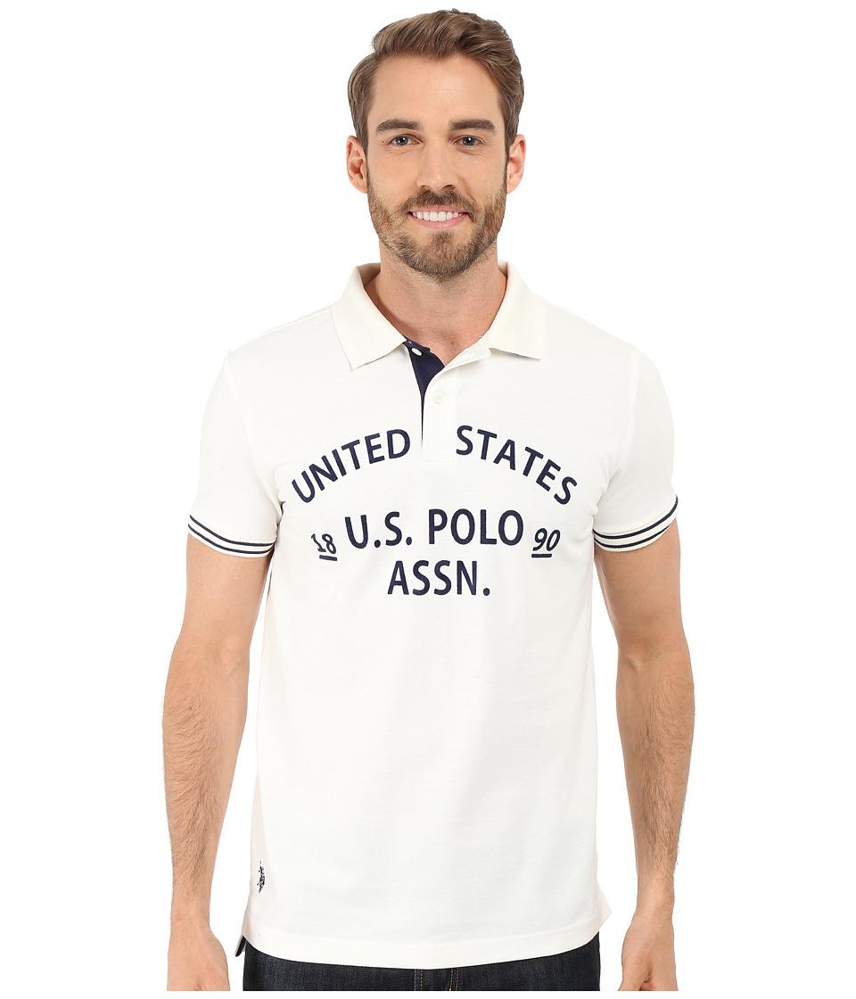 U.S. POLO ASSN. - Slim Fit Flocked Logo Pique Polo Shirt (White Winter) Men's Short Sleeve Pullover