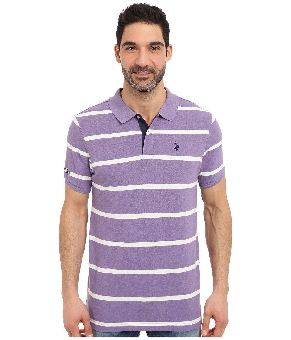 U.S. POLO ASSN. - Stripe Pique Polo Shirt (Tie Purple Heather) Men's Short Sleeve Knit