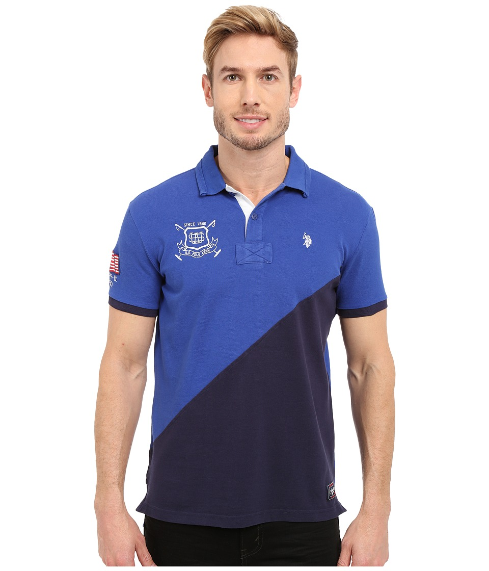 U.S. POLO ASSN. - Slim Fit Diagonal Color Block Pique Polo Shirt (Blue Tie) Men's Short Sleeve Pullover