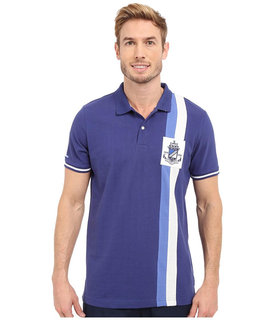 U.S. POLO ASSN. - Vertical Stripe Logo Patch Pique Polo Shirt (Marina Blue) Men's Short Sleeve Pullover