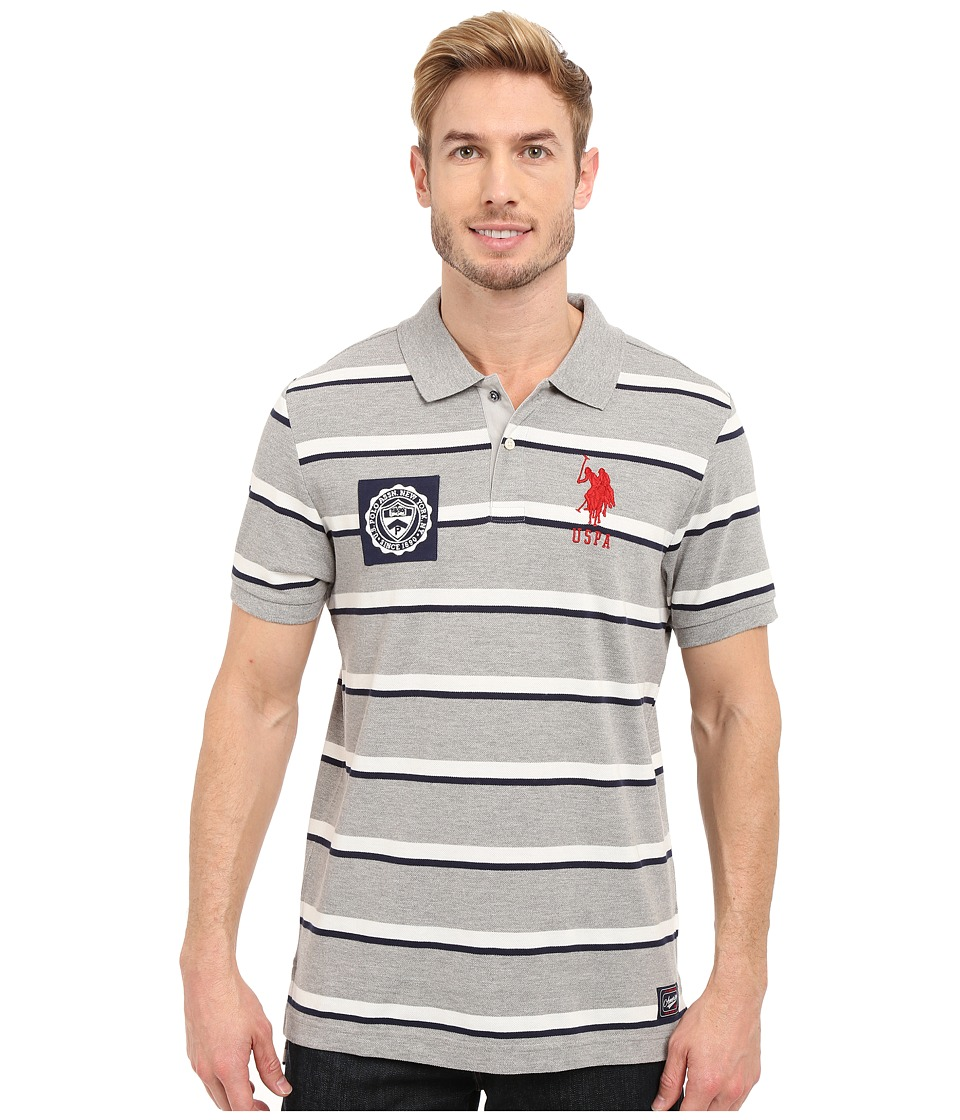 U.S. POLO ASSN. - Sporty Tri-Stripe Pique Polo Shirt (Heather Grey) Men's Short Sleeve Pullover