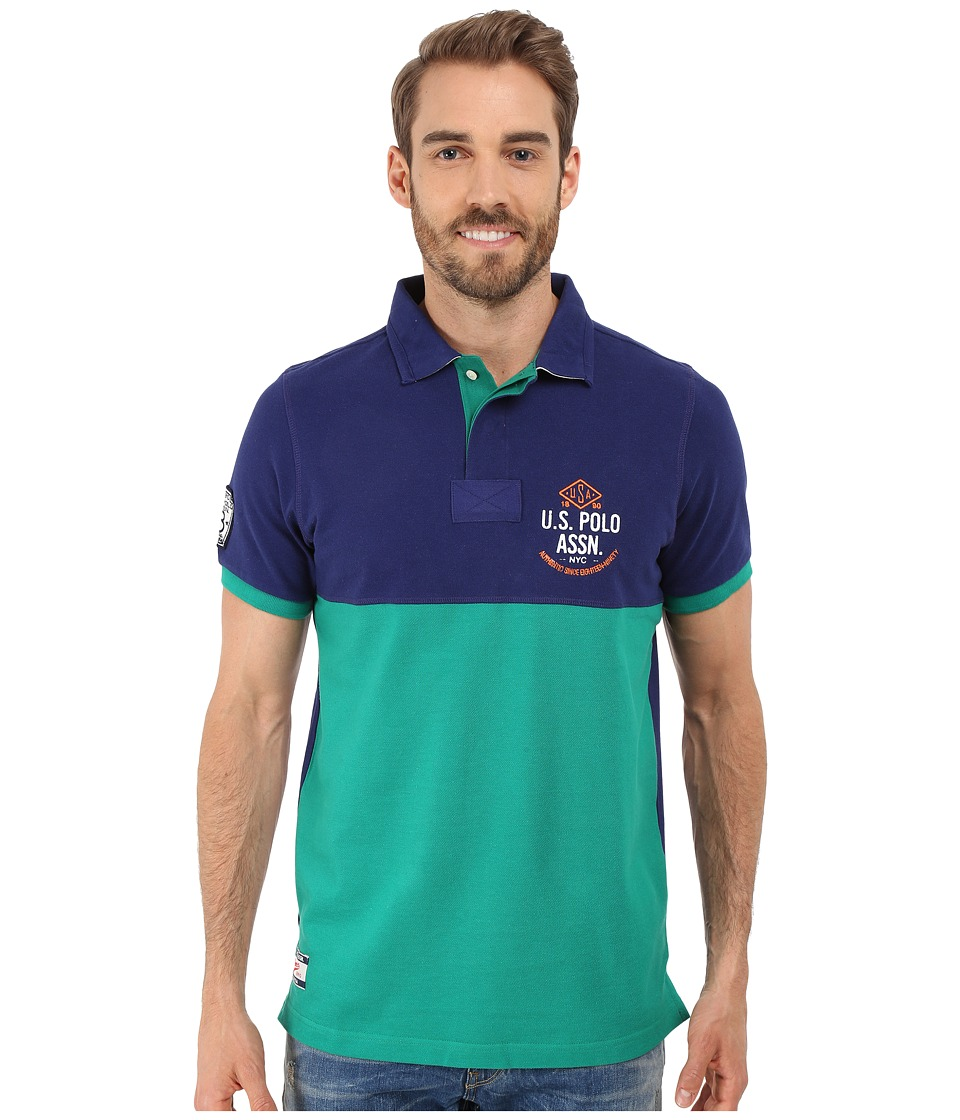 U.S. POLO ASSN. - Color Blocked Embellished Pique Polo Shirt (Dodger Blue) Men's Short Sleeve Pullover