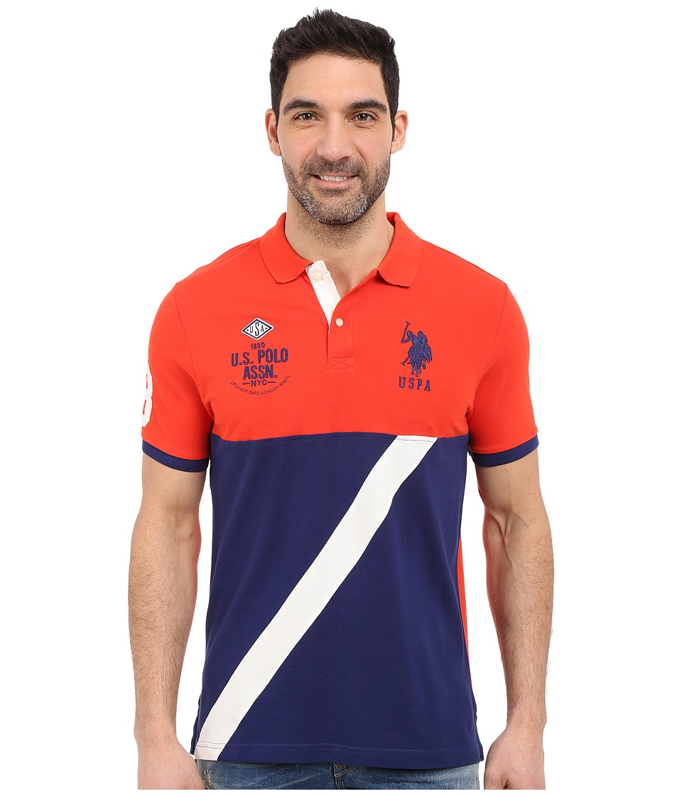 U.S. POLO ASSN. - Color Block Diagonal Stripe Pique Polo Shirt (Crimson Fire) Men