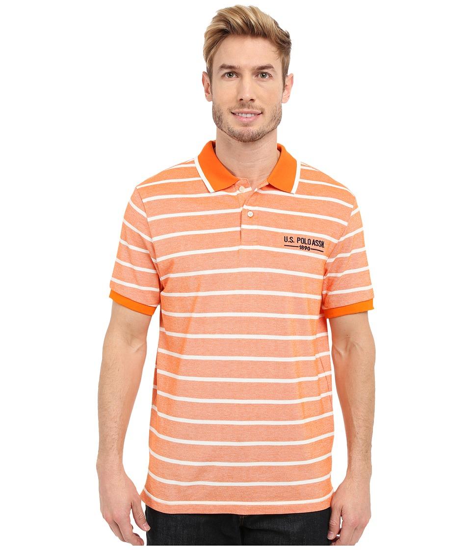 U.S. POLO ASSN. - Embellished Pencil Stripe Polo Shirt (Canoe Orange) Men's Short Sleeve Knit