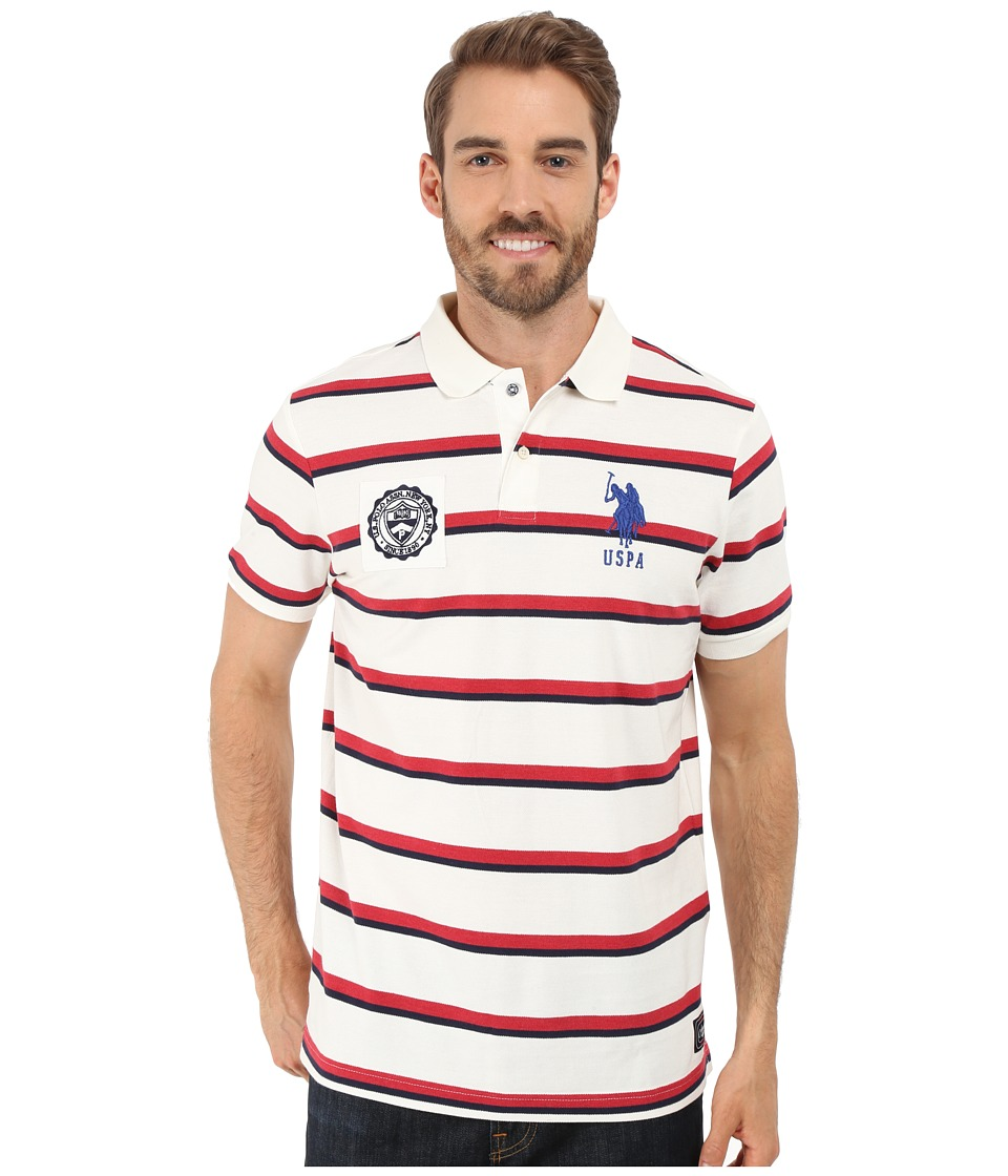 U.S. POLO ASSN. Sporty Tri-Stripe Pique Polo Shirt (White Winter) Men