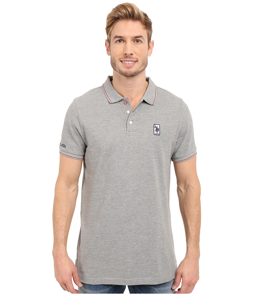 U.S. POLO ASSN. - Solid Pique Polo Shirt w/ Color Tipped Collar Cuffs (Heather Grey) Men's Short Sleeve Pullover