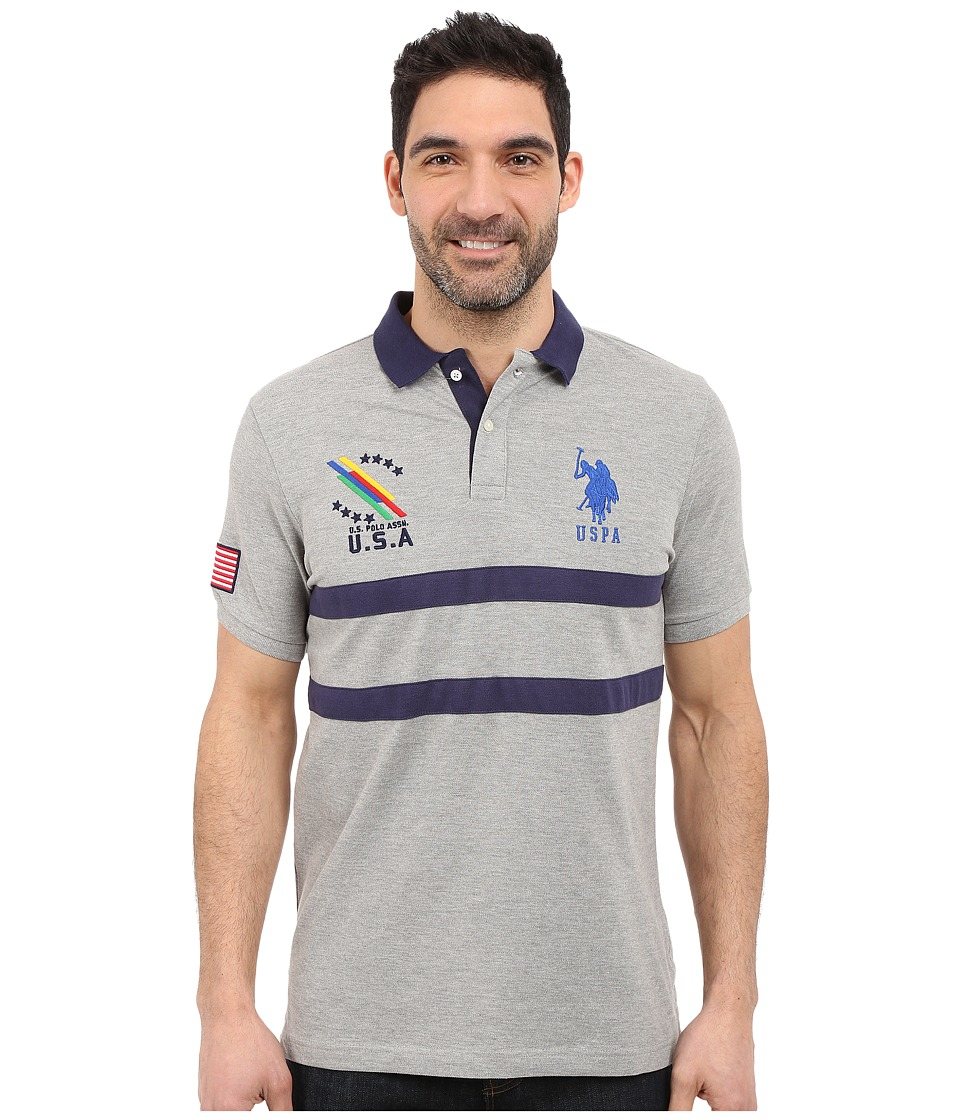 U.S. POLO ASSN. - Chest Striped Pique Polo Shirt (Heather Grey) Men's Short Sleeve Pullover