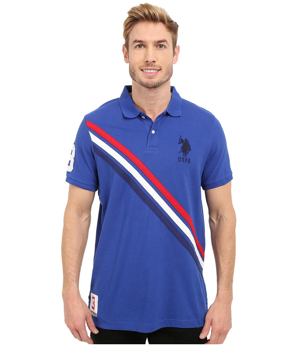 U.S. POLO ASSN. - Tri-Color Diagonal Stripe Pique Polo Shirt (Blue Raft) Men's Short Sleeve Pullover