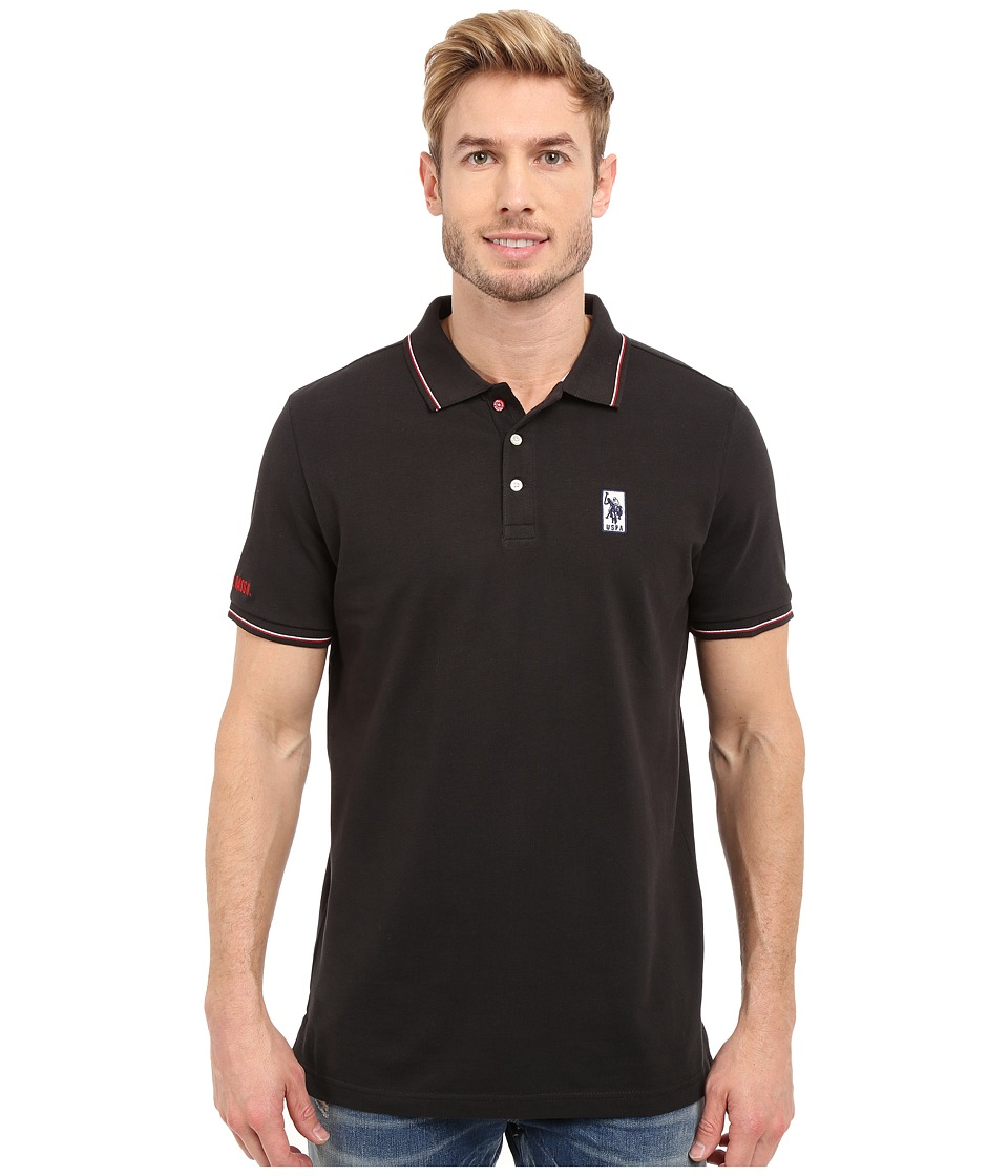 U.S. POLO ASSN. - Solid Pique Polo Shirt w/ Color Tipped Collar Cuffs (Black) Men's Short Sleeve Pullover