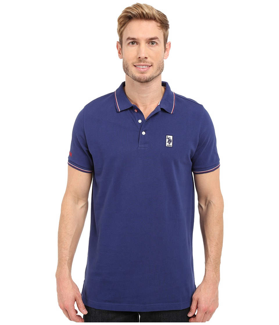 U.S. POLO ASSN. - Solid Pique Polo Shirt w/ Color Tipped Collar Cuffs (Marina Blue) Men's Short Sleeve Pullover