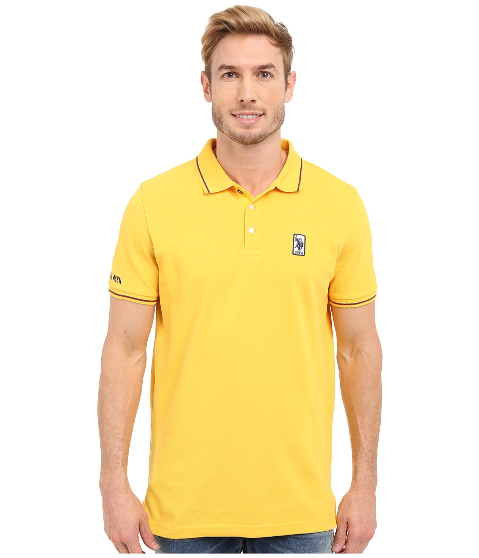 U.S. POLO ASSN. - Solid Pique Polo Shirt w/ Color Tipped Collar Cuffs (Cape Yellow) Men's Short Sleeve Pullover