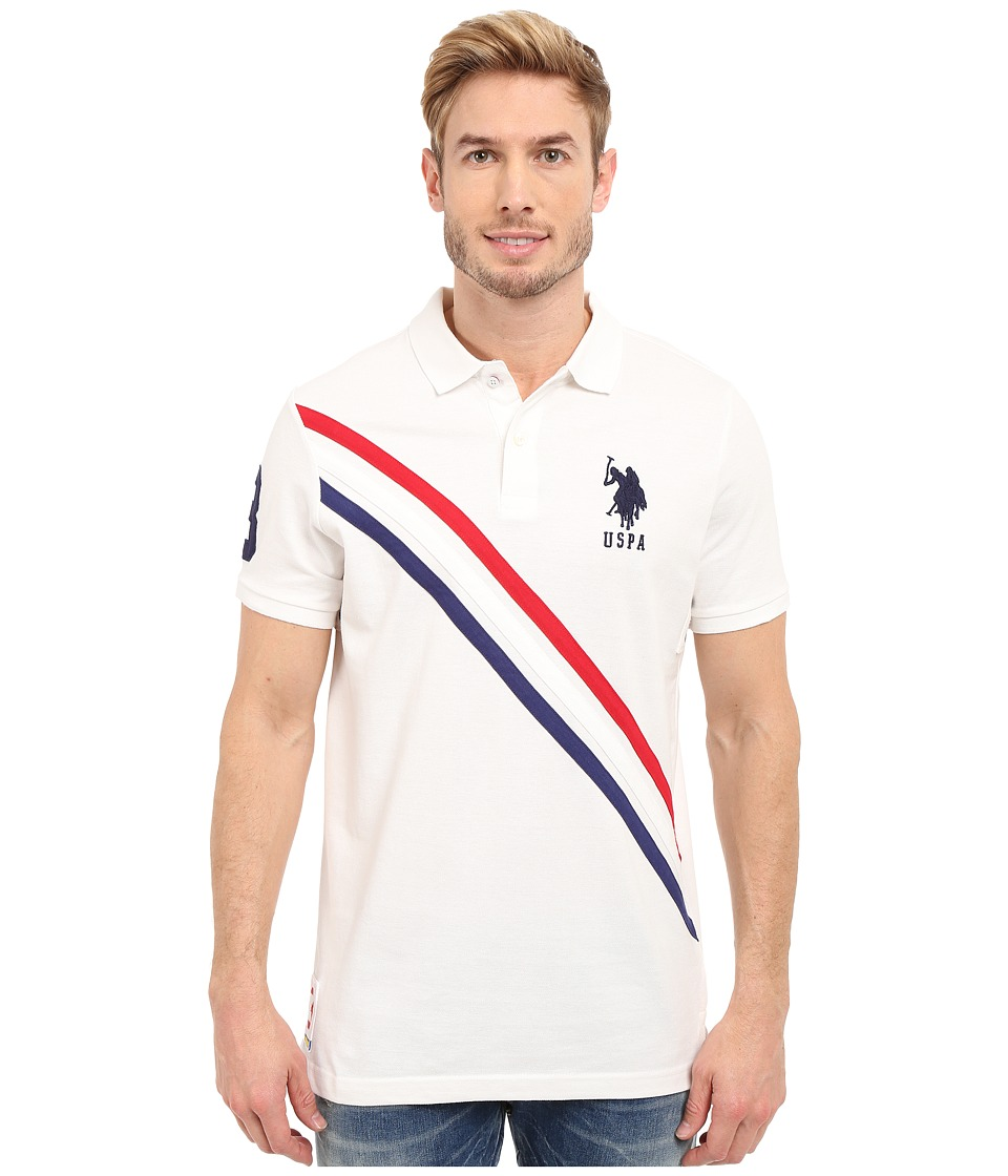 U.S. POLO ASSN. - Tri-Color Diagonal Stripe Pique Polo Shirt (White) Men's Short Sleeve Pullover