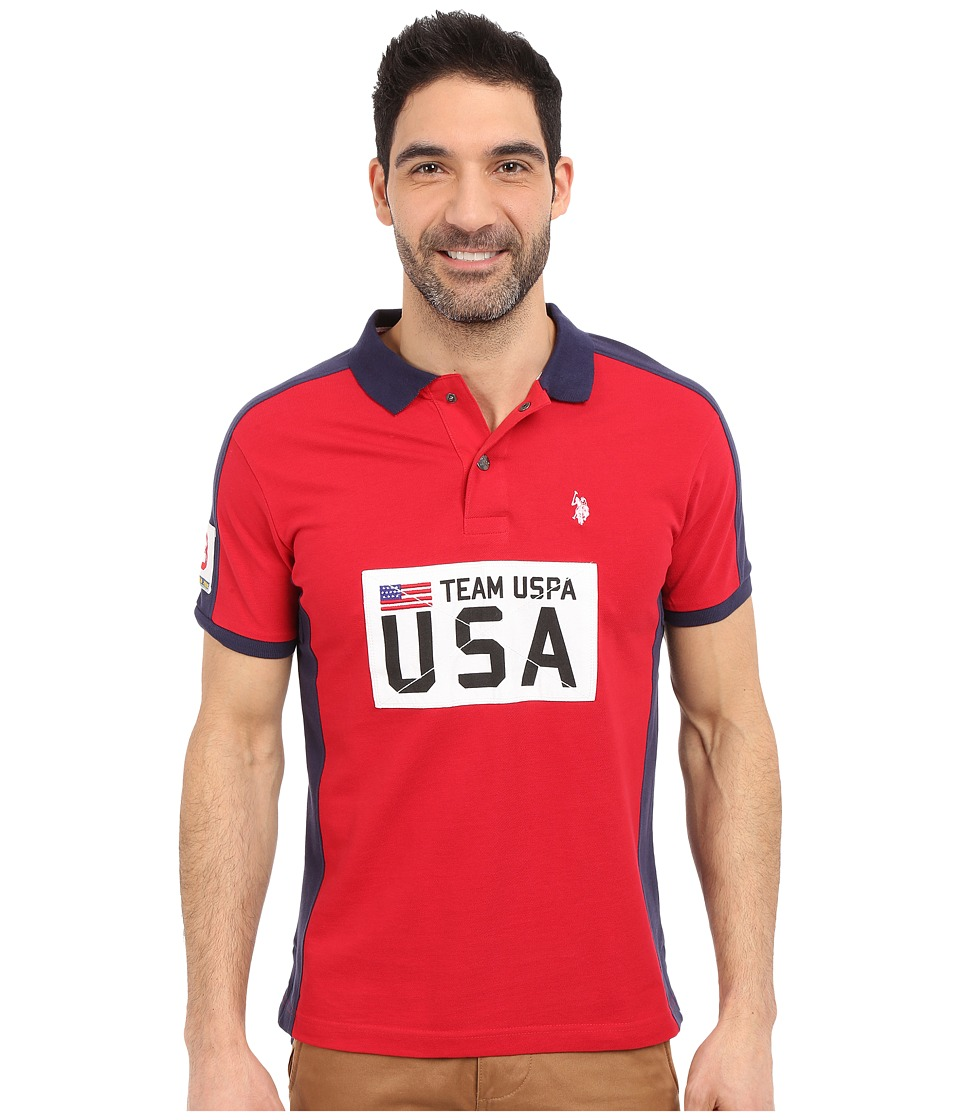 U.S. POLO ASSN. - Sporty Authentic Slim Fit Pique Polo Shirt (Winning Red) Men's Short Sleeve Knit