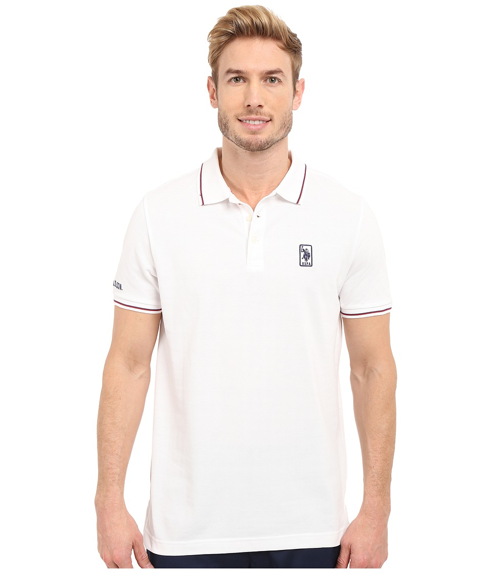 U.S. POLO ASSN. - Solid Pique Polo Shirt w/ Color Tipped Collar Cuffs (White) Men's Short Sleeve Pullover