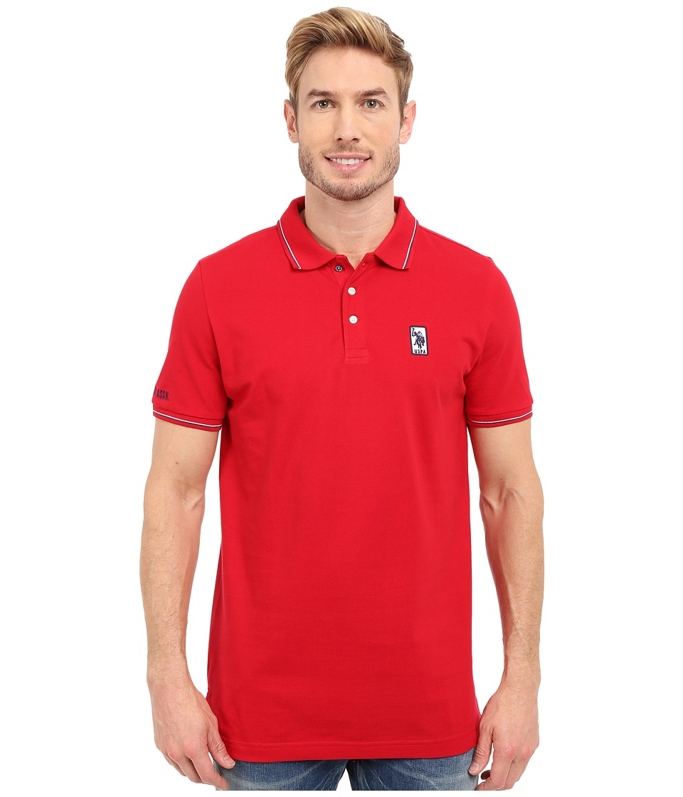 U.S. POLO ASSN. - Solid Pique Polo Shirt w/ Color Tipped Collar Cuffs (Winning Red) Men's Short Sleeve Pullover