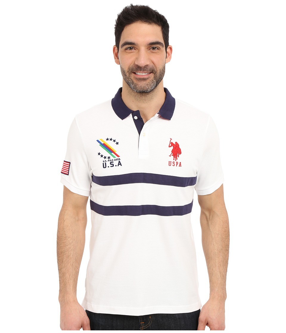 U.S. POLO ASSN. - Chest Striped Pique Polo Shirt (White) Men