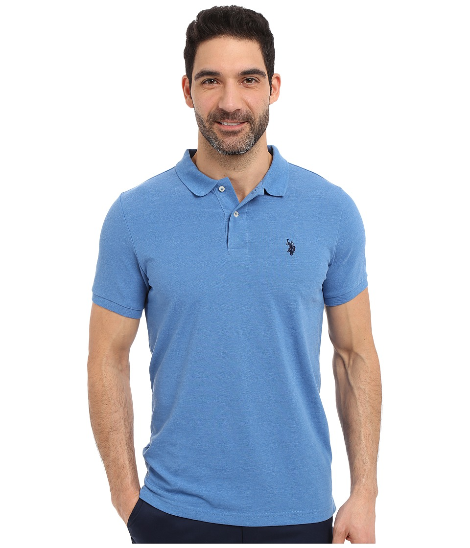 U.S. POLO ASSN. - Solid Polo Shirt w/ Small Pony (Blue Tile Heather) Men's Short Sleeve Knit