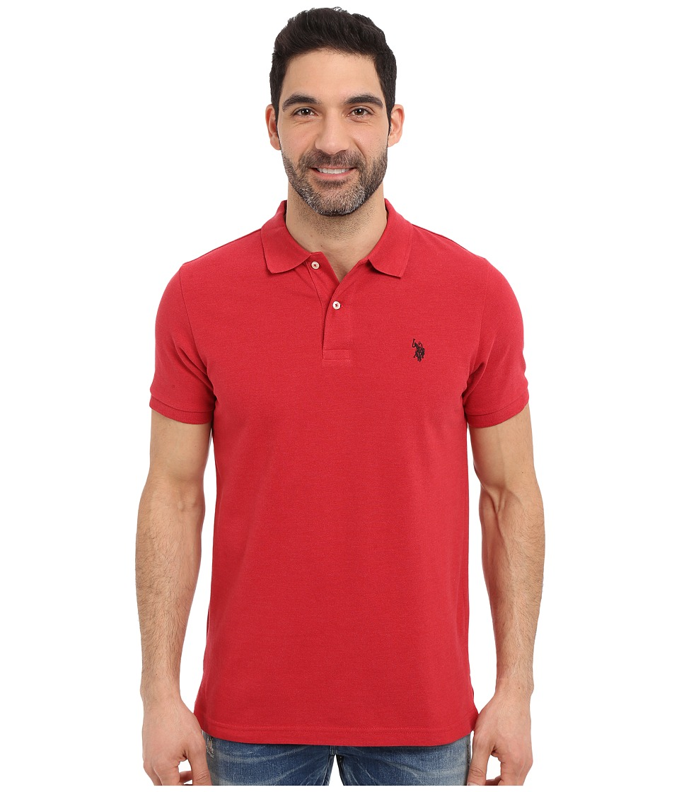 U.S. POLO ASSN. - Solid Cotton Pique Polo with Small Pony (Red Heather) Men's Short Sleeve Knit