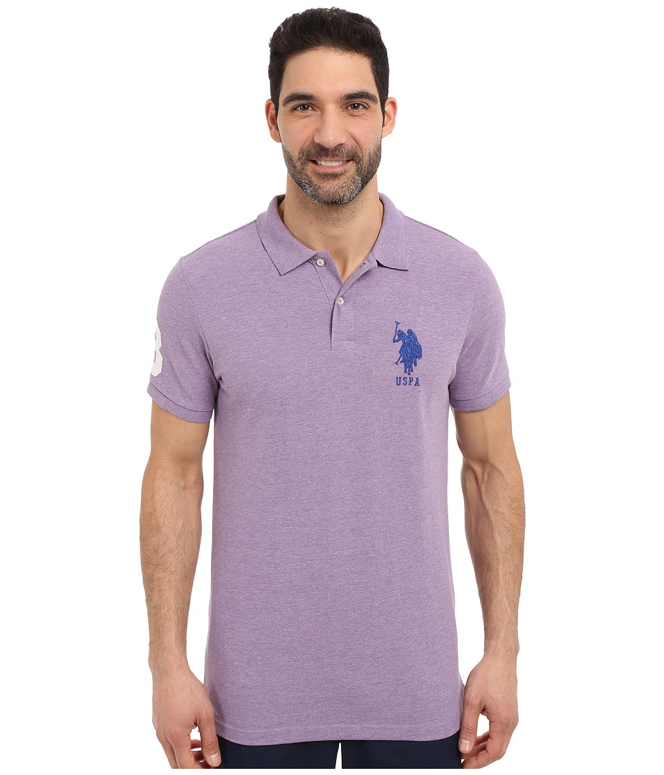 U.S. POLO ASSN. - Solid Pique Polo Shirt (Tie Purple Heather) Men's Short Sleeve Pullover