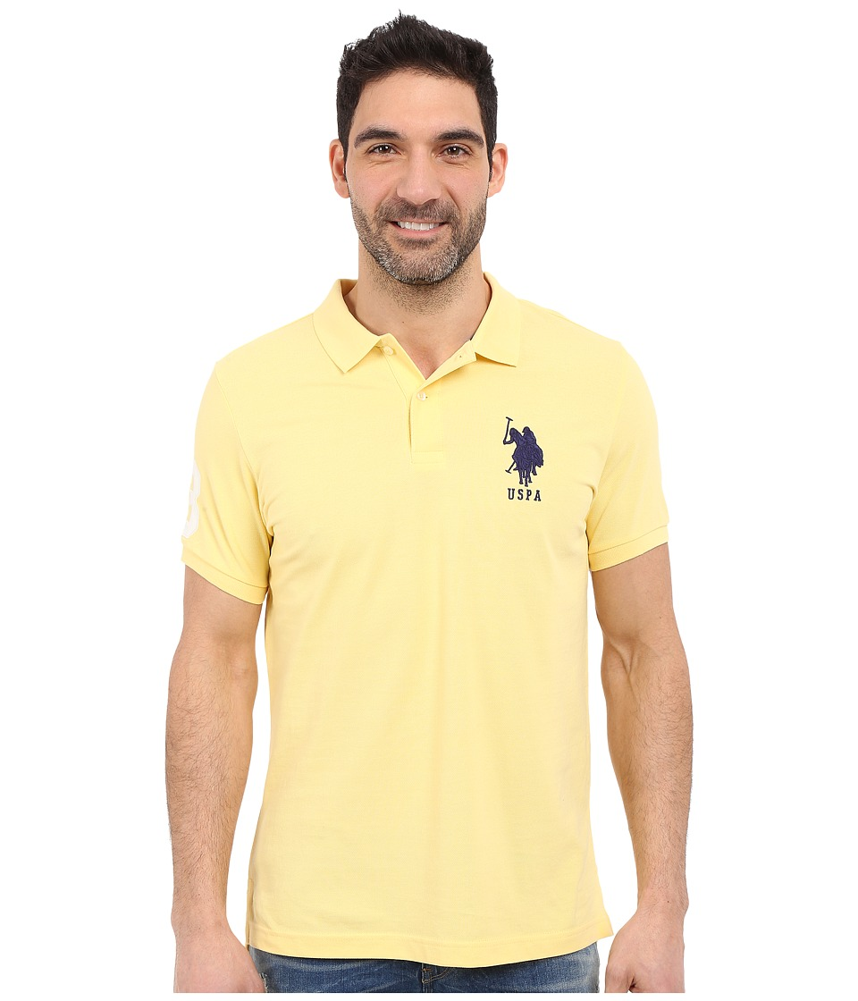 U.S. POLO ASSN. - Solid Pique Polo Shirt (Lemon Frost) Men