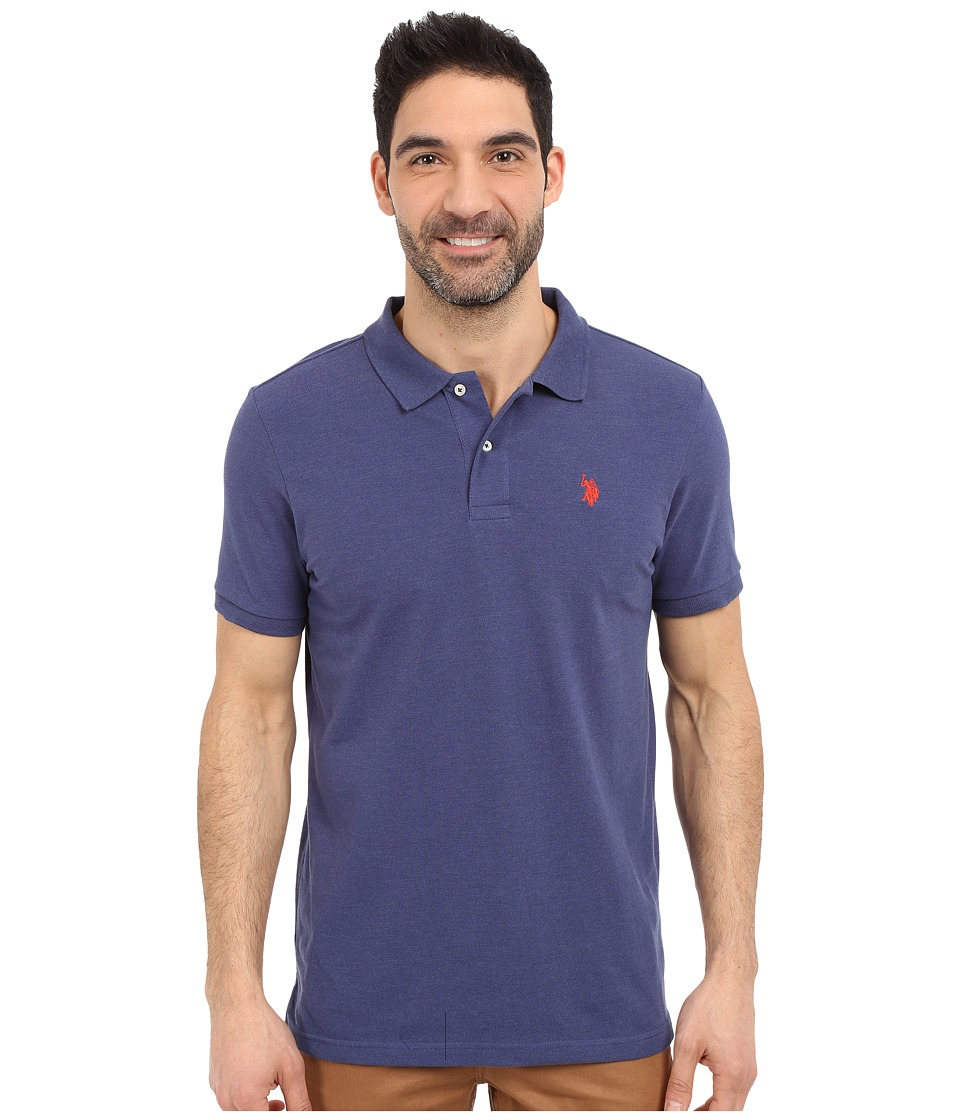 U.S. POLO ASSN. - Solid Polo Shirt w/ Small Pony (Dodger Blue Heather) Men's Short Sleeve Knit