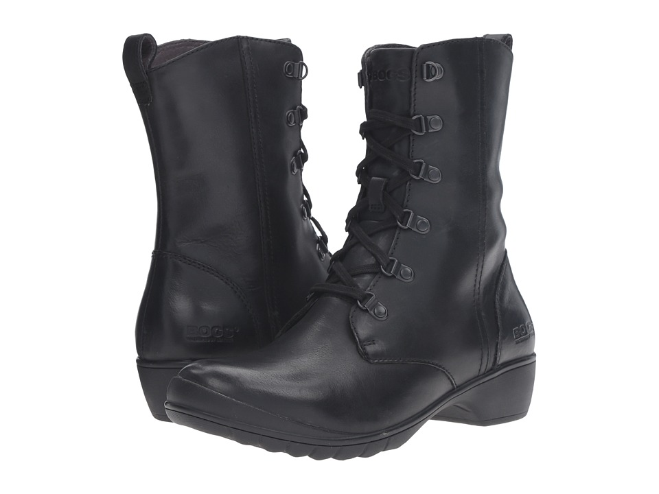Bogs - Carrie Lace Mid Boot (Black) Women's Lace-up Boots