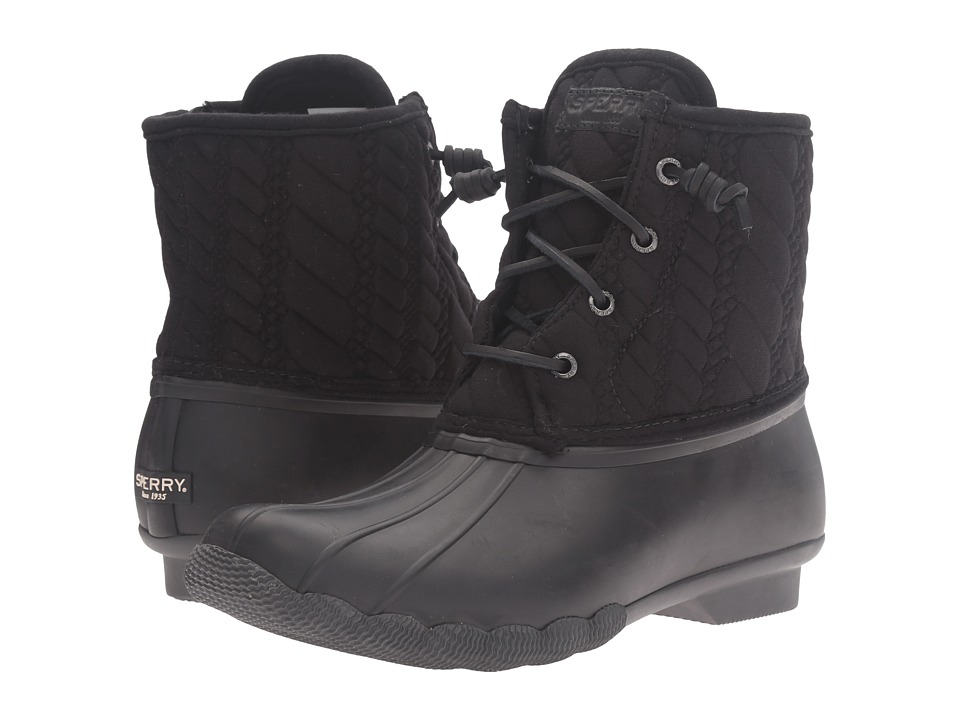 Sperry - Saltwater Rope Emboss Neoprene (Black) Women's Lace-up Boots