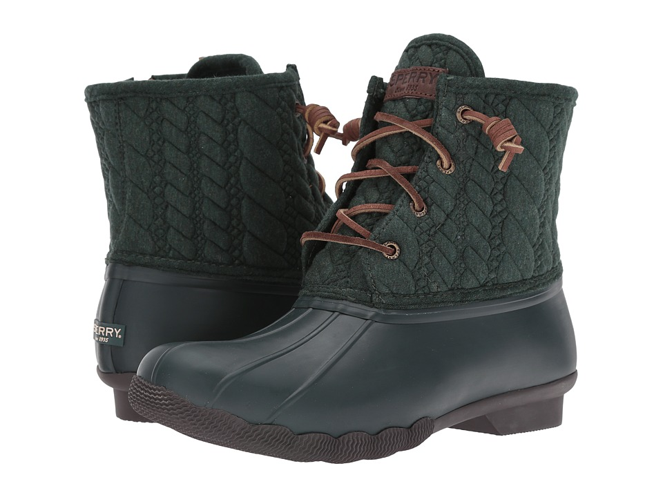 Sperry Top-Sider - Saltwater Rope Emboss Neoprene (Green) Women's Lace-up Boots