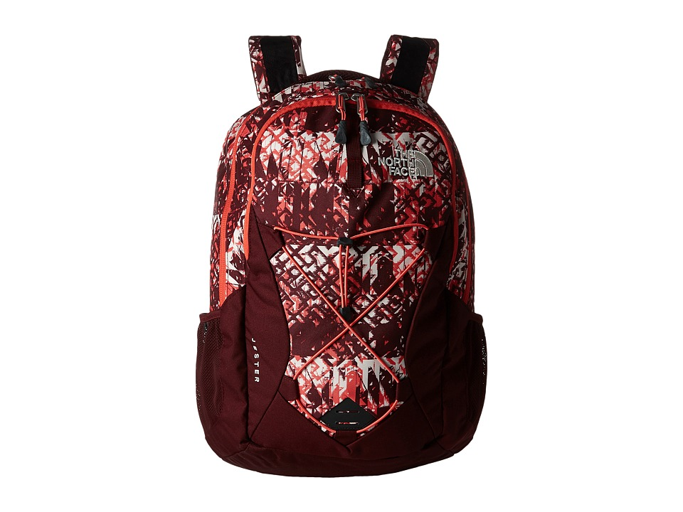 The North Face - Women's Jester (Deep Garnet Red Ethnique Print/Deep Garnet Red) Backpack Bags