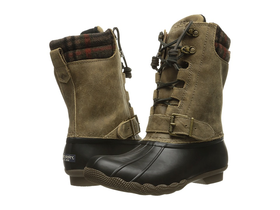 Sperry - Saltwater Misty (Black/Brown Wool Plaid) Women's Rain Boots