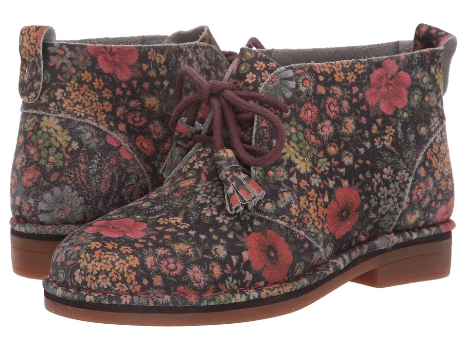 Hush Puppies - Cyra Catelyn (Black Floral Suede) Women's Lace-up Boots