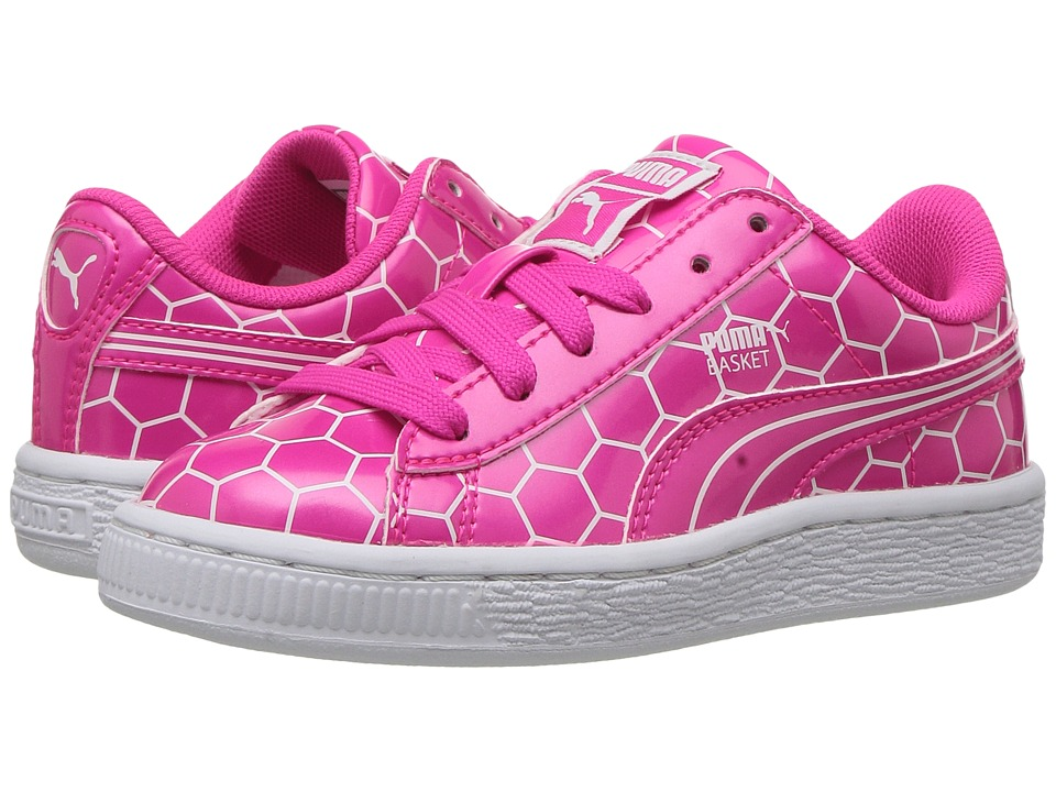 Puma Kids - Basket Classic Ano PS (Little Kid/Big Kid) (Pink Glo/Puma White) Girls Shoes