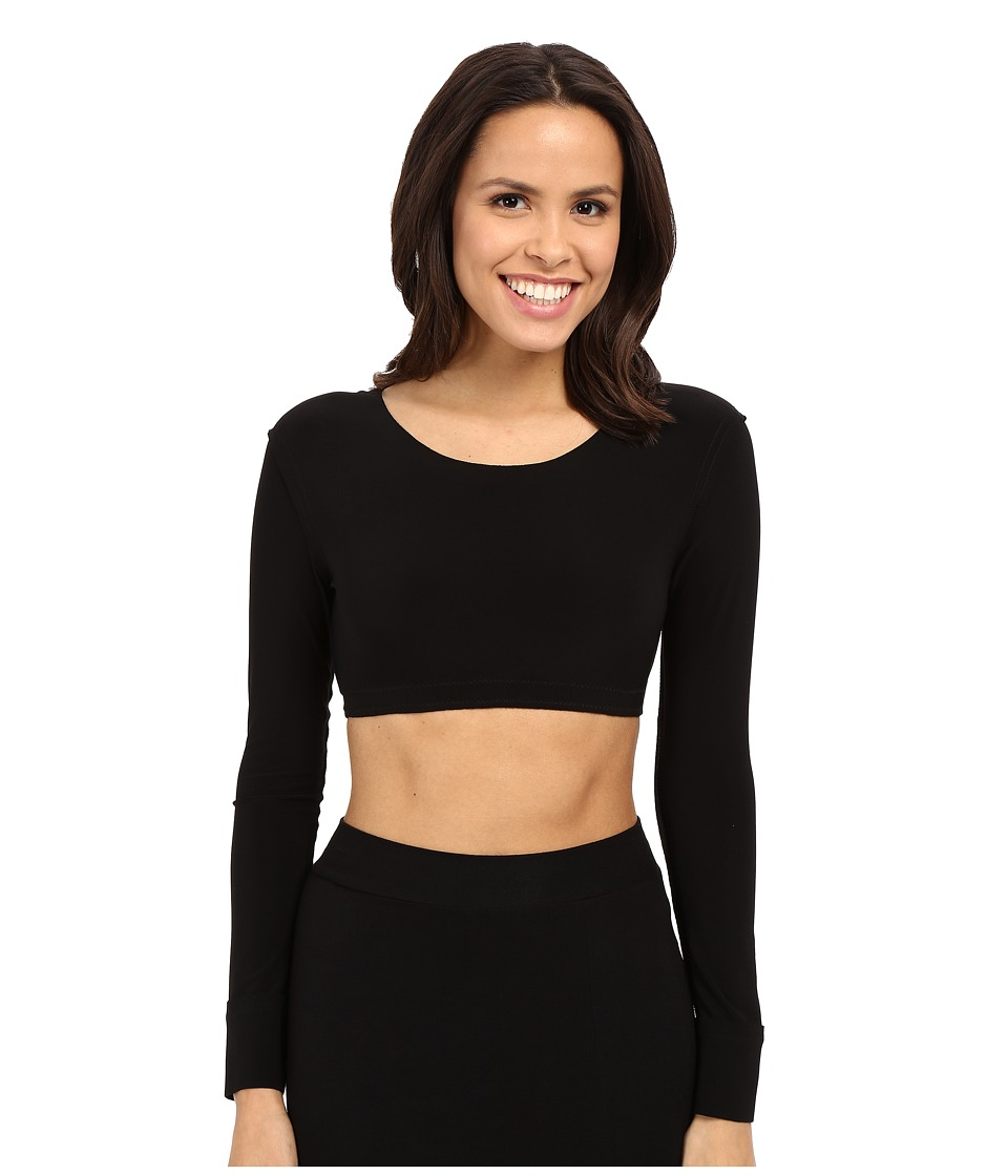 KAMALIKULTURE by Norma Kamali - Crew Neck Cropped Top (Black) Women's Long Sleeve Pullover