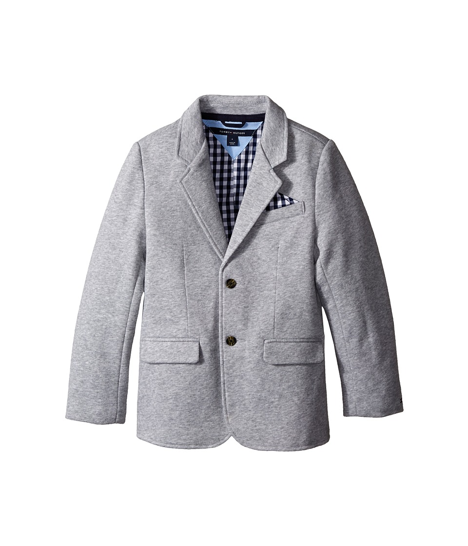 Tommy Hilfiger Kids - Knit Blazer with Gingham Lining (Toddler/Little Kids) (Grey Heather) Boy's Coat