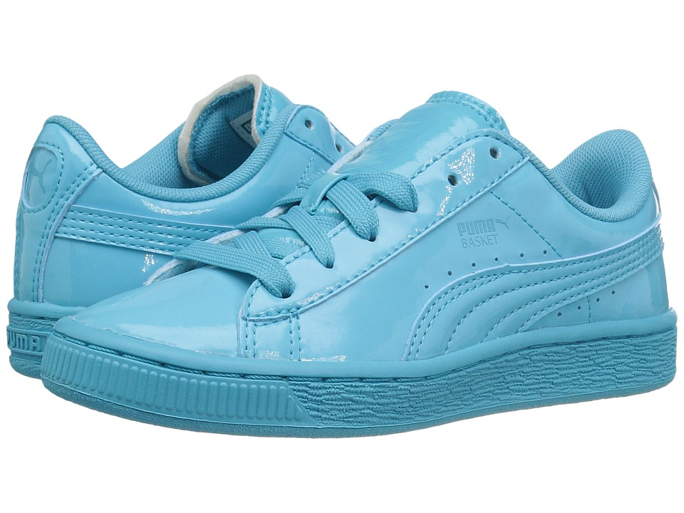 Puma Kids Basket Classic Patent PS (Little Kid/Big Kid) (Blue Atoll/Blue Atoll) Kids Shoes