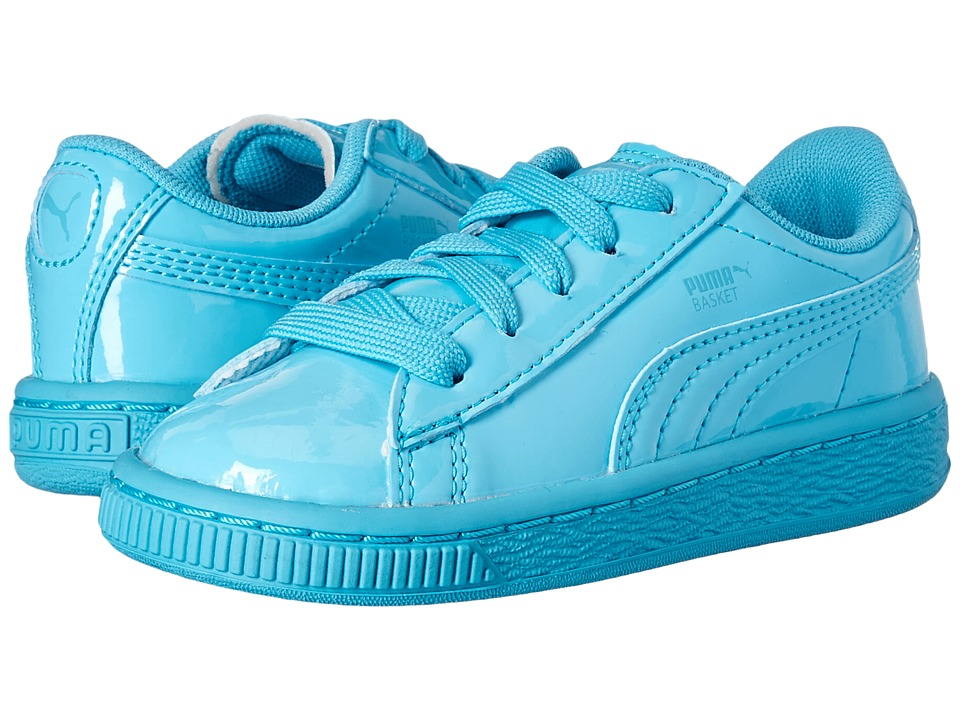 Puma Kids Basket Classic Patent Inf (Toddler) (Blue Atoll/Blue Atoll) Kids Shoes