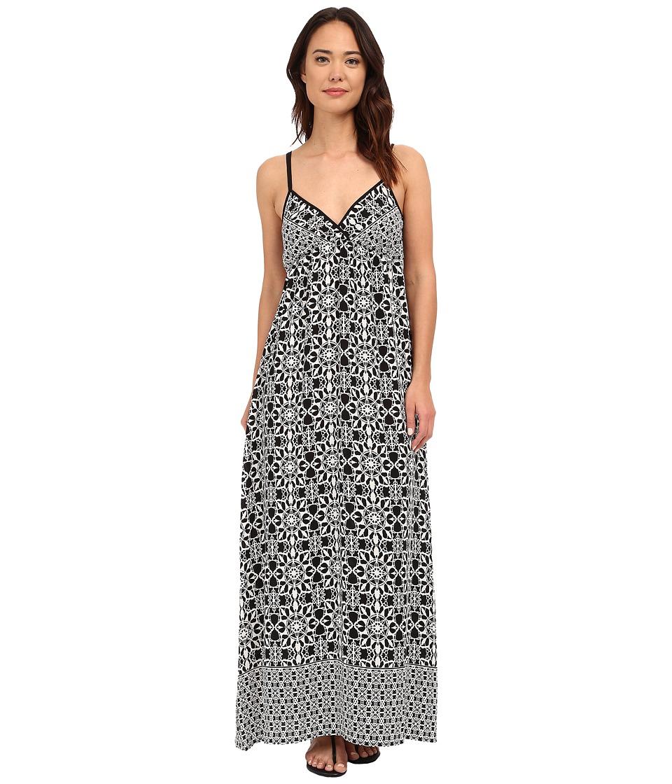 Brigitte Bailey Brody Printed Maxi Dress (Black/Off-White) Women
