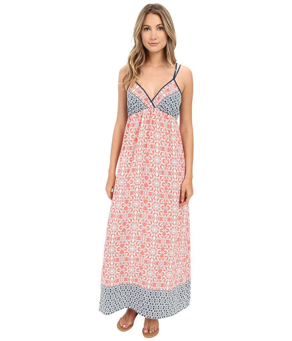 Brigitte Bailey - Brody Printed Maxi Dress (Coral/Teal) Women's Dress