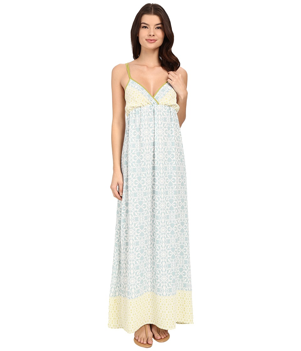 Brigitte Bailey - Brody Printed Maxi Dress (Blue/Lime) Women's Dress