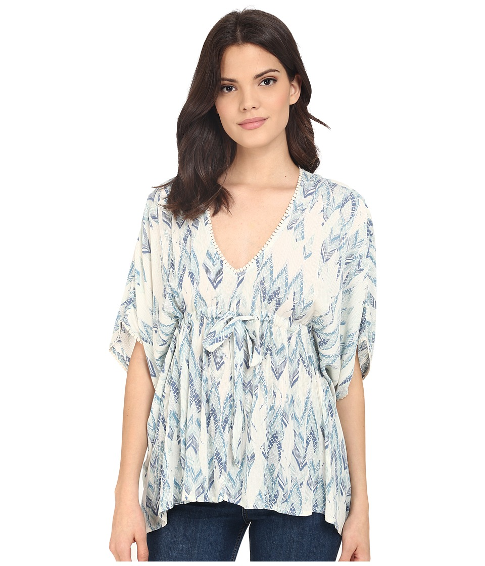 Brigitte Bailey - Alina Printed Flowy Top (Blue Combo) Women's Clothing