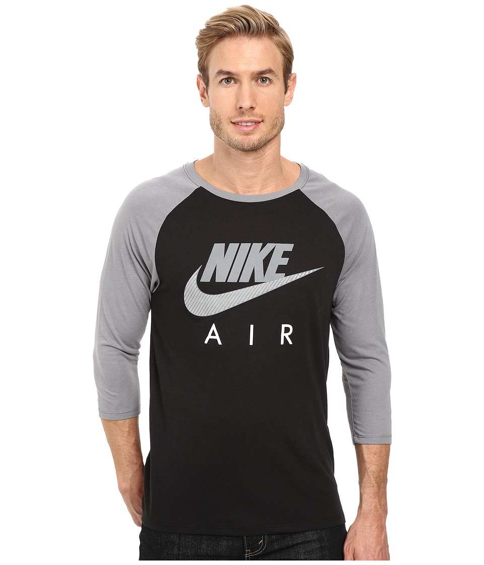 Nike - Air Raglan Tee (Black/Cool Grey/Cool Grey) Men's Clothing