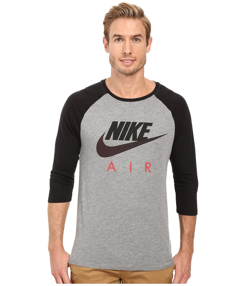 Nike - Air Raglan Tee (Carbon Heather/Black/University Red) Men's Clothing