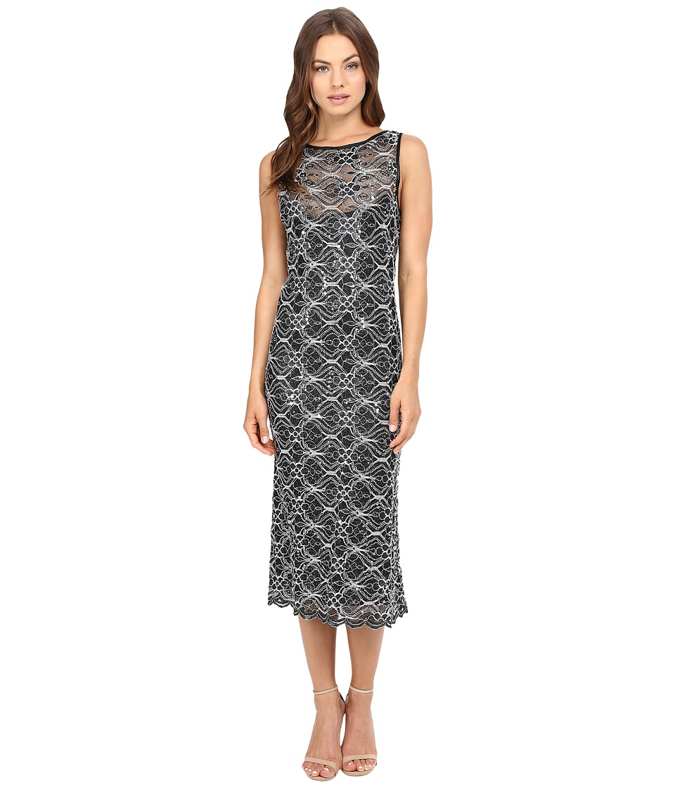 rsvp - Kait Sequin Lace Midi (Black/Silver) Women's Dress